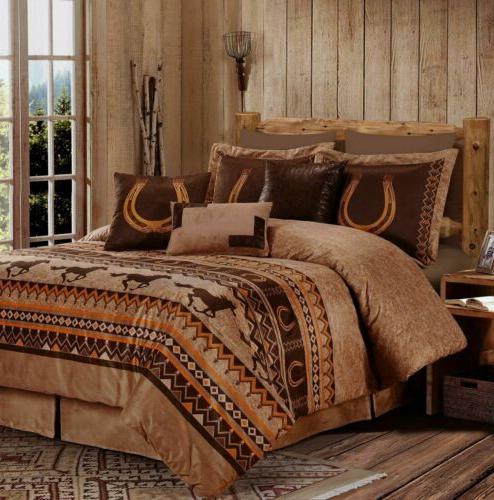 7 piece southwestern wild horses comforter set