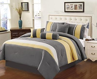 7 piece sunvale yellow grey white comforter