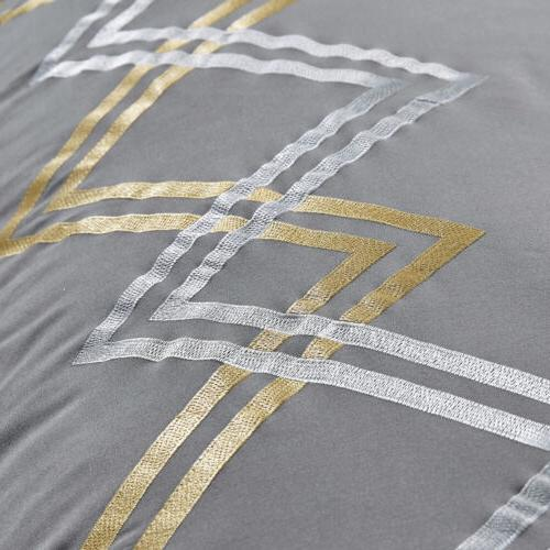 7 Stripe Embroidered Zigzag Comforter