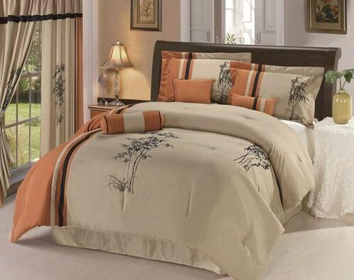 7p embroidery floral bedding comforter set or