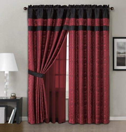Chezmoi 7pc Dynasty Jacquard Black/Red Comforter Set or Curtain Set