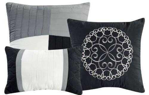 Chezmoi 7pc Pinsonic Quilted Trellis Striped Comforter Set