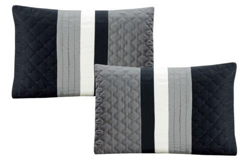Chezmoi 7pc Pinsonic Quilted Trellis Pleated Comforter Set
