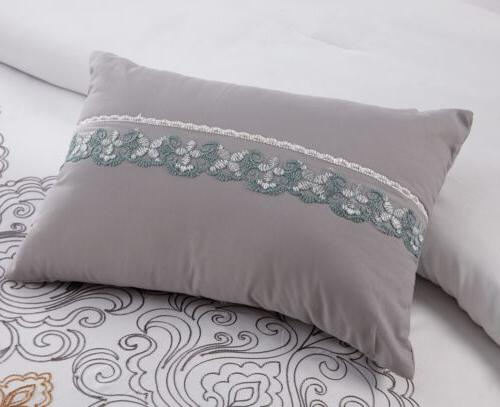 Chezmoi Collection 7pc Teal/Gold/Gray/White Embroidered Comforter