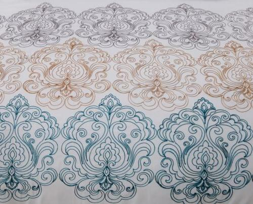 Chezmoi 7pc Teal/Gold/Gray/White Embroidered