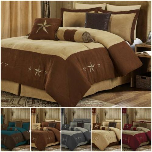 7pc western star embroidery microsuede oversize comforter