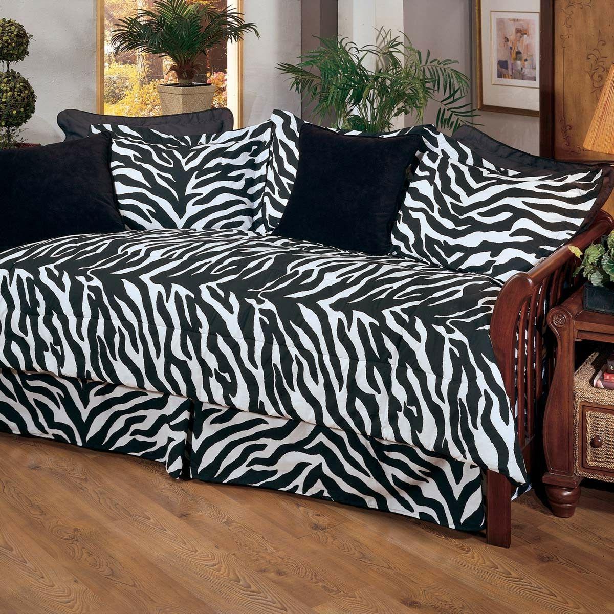7pc Zebra Stripe Daybed Comforter Bedding Set Comforter Skir