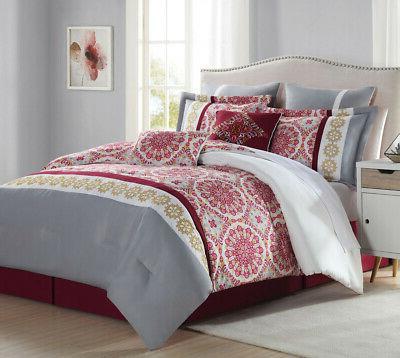 8 piece alanis burgundy gray comforter set