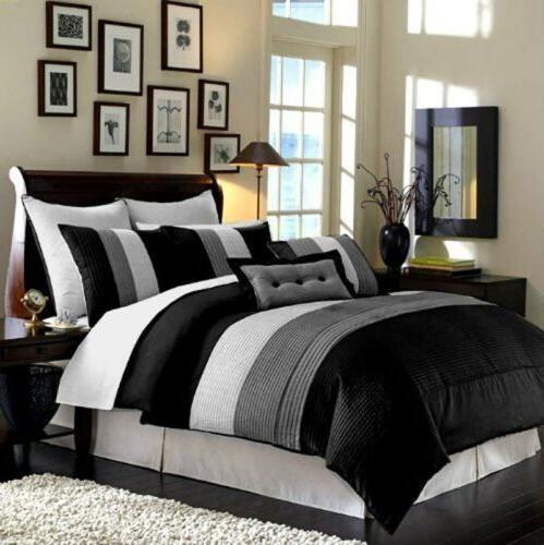 8-Piece Luxury Stripe Comforter Set Bed-In-A-Bag Black