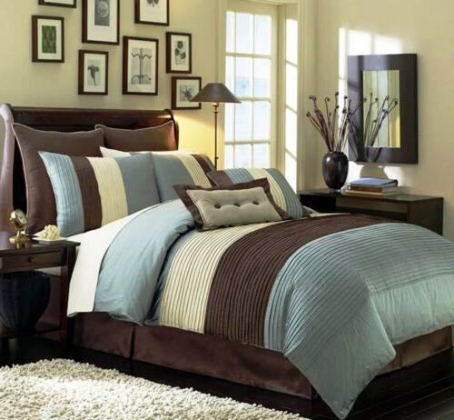 8-Piece Luxury Stripe Comforter Set Bed-In-A-Bag Blue