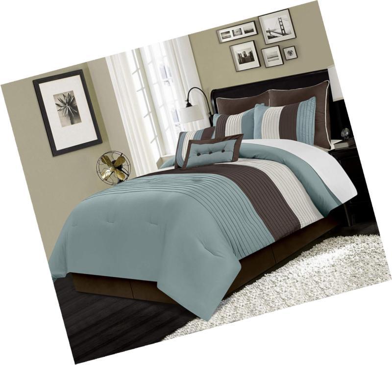 Chezmoi Luxury Striped Comforter Set Queen