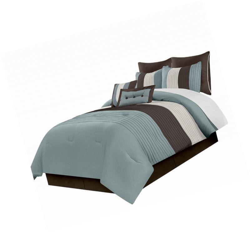 8 piece luxury striped comforter set blue