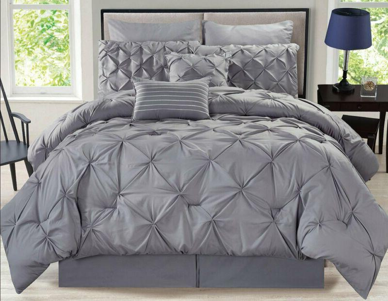8 piece rochelle pinched pleat gray comforter