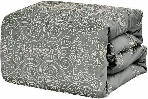 8 Pieces Comforter Set Luxury Bed Bag,King,Grey