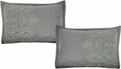 8 Pieces Embroidered Comforter Luxury Bed in