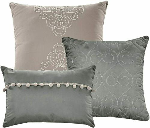 8 Comforter Set Luxury Collection Bed Bag,King,Grey