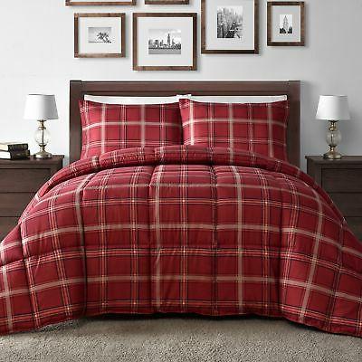 Comfy Bedding Red Plaid Down Alternative 3-piece Comforter S