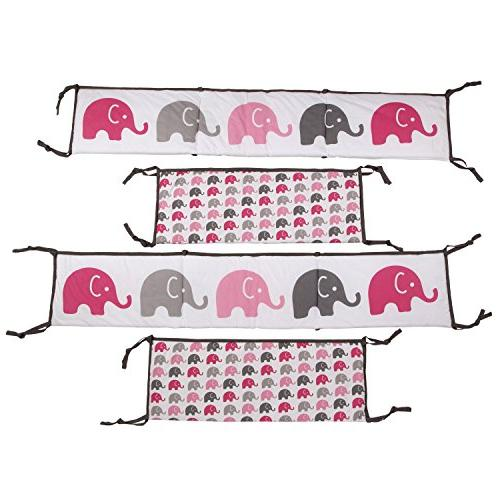 Elephants Pink/Grey 10 crib set including Pad