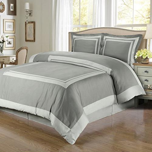 Hotel Gray & Light Gray 4PC Comforter Set, Elegant and Conte