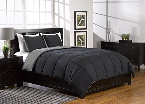 Karalai Bedding Collection 3 Pc Black and Gray, Queen Comfor