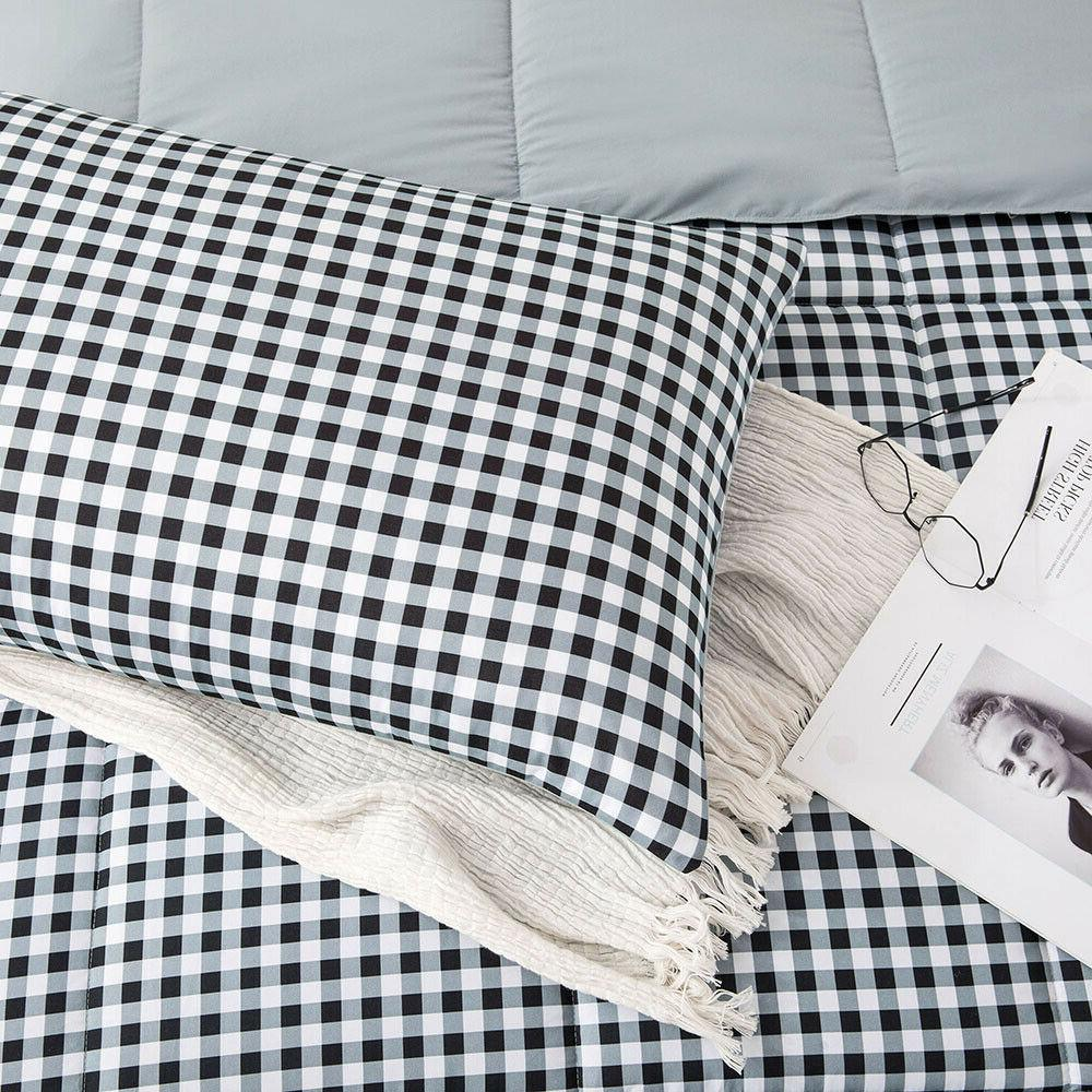 All White Plaid Printed Down Alternative Comforter Set