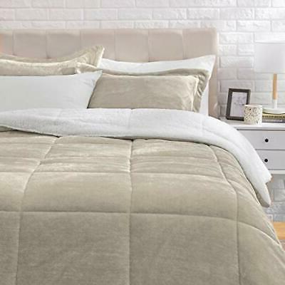 AmazonBasics Micromink Sherpa Comforter Set - Ultra-Soft Fra