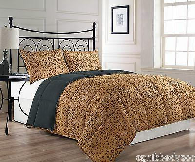 ANIMALIA Reversible Brown Black Leopard Print Comforter Set