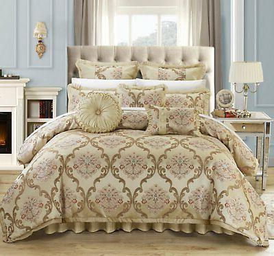 Chic Home Aubrey 9 Piece Comforter Set Jacquard Scroll Faux
