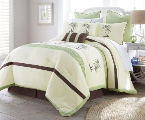 Chezmoi Collection Bali Embroidered Pleated Striped Comforter Set