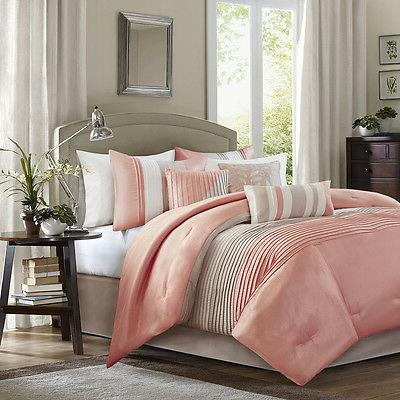 Beautiful Coral Taupe Comforter set 7 pcs Cal King Queen New