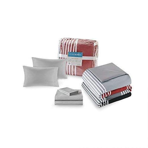Bed Bag Queen Comforter Sheets feat. Side Pockets Colin Piece Sets Red/Grey