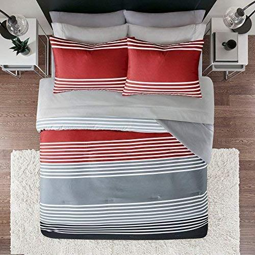 Bed in Queen Comforter Sheets feat. Side Pockets - Colin 9 Sets Printed Red/Grey Stripes