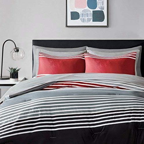 Bed a Bag Queen Set with Sheets Pockets Piece All Bedding Sets Microfiber Red/Grey Stripes