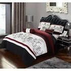 7 Piece Bedding Comforter Set Black Red King Size Jacquard B