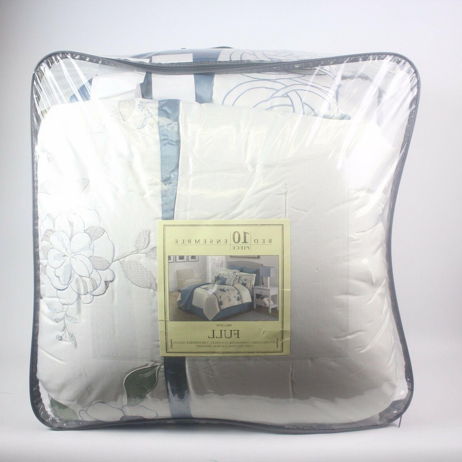 Sunham Bedding Melodie 10 Piece FULL Comforter Set Floral Bl