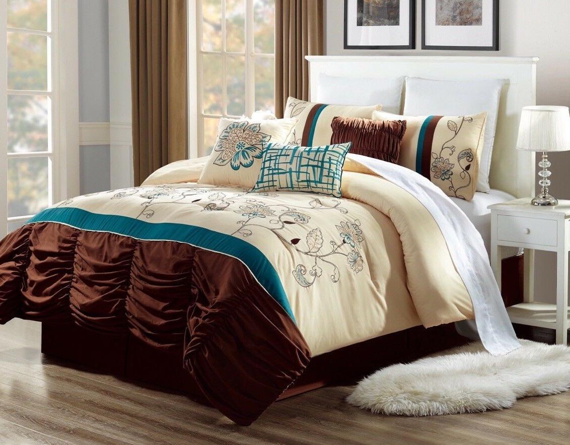 bedroom beige cream duvet teal brown flowers