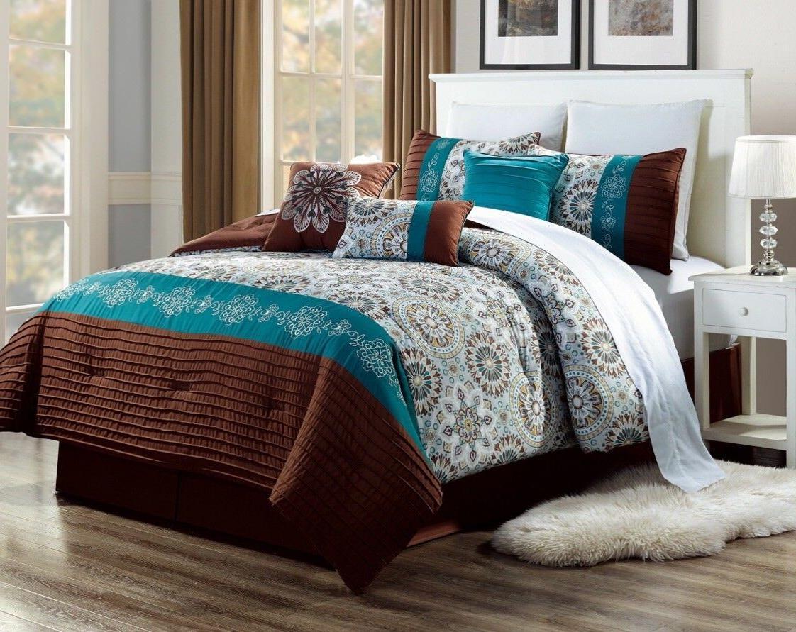 BEDROOM BROWN TEAL AQUA DUVET CIRCLES PATTERN COMFORTER BED