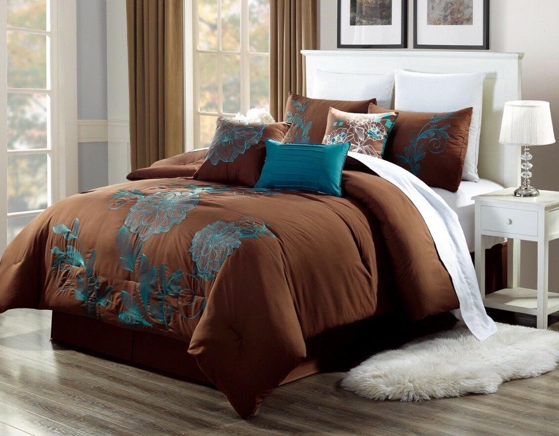 bedroom chocolate brown duvet teal flowers comforter
