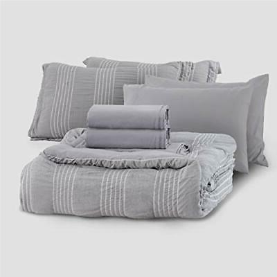 Bedsure Full/Queen 8 A Bag Stripes Seersucker Ultra-S