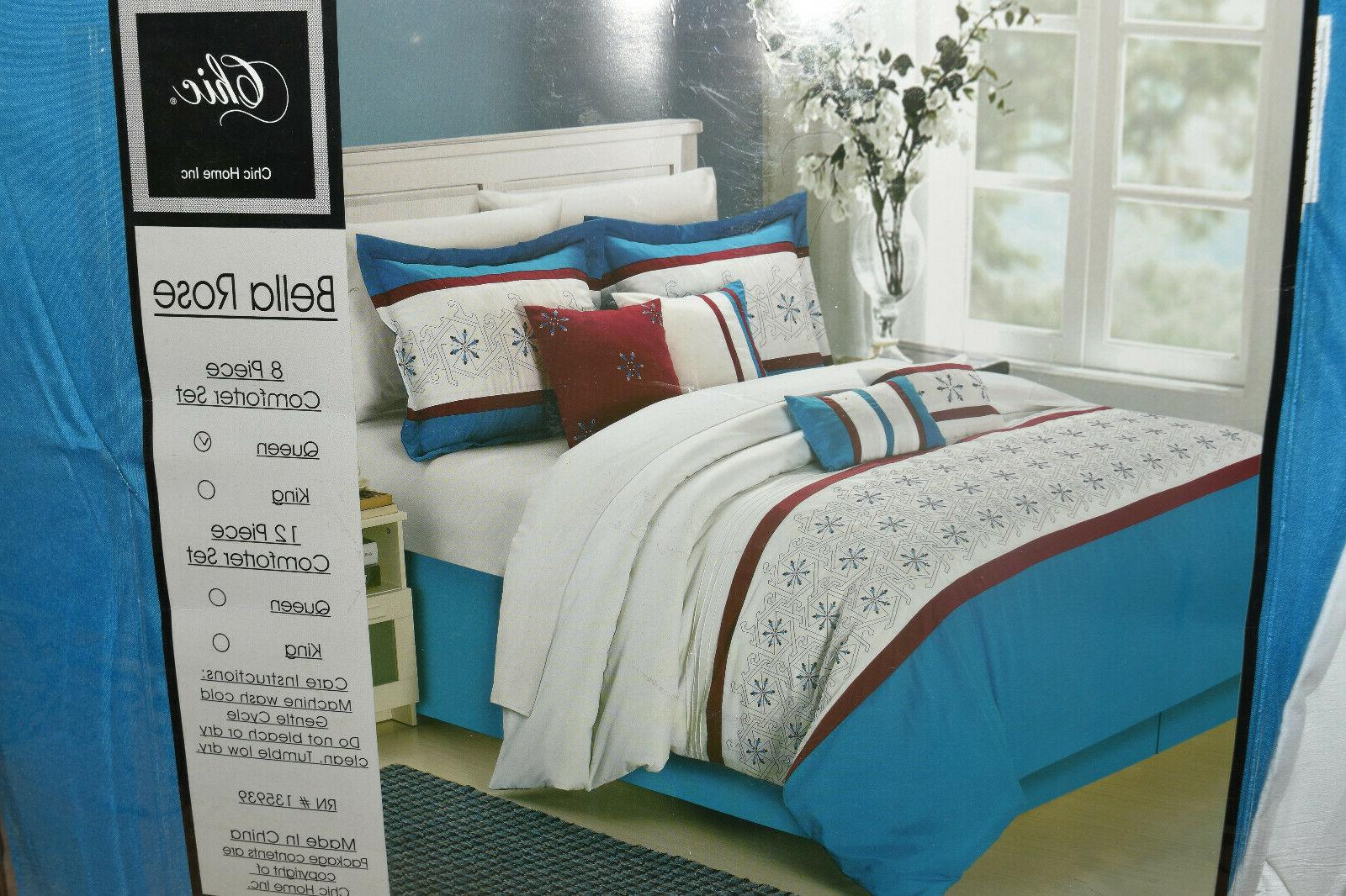 Bella Rose Blue Queen 8 Bed Set