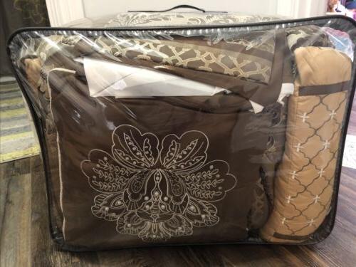 Madison Bellagio Comforter 7 Bedding Brown/Gold/Beige NEW