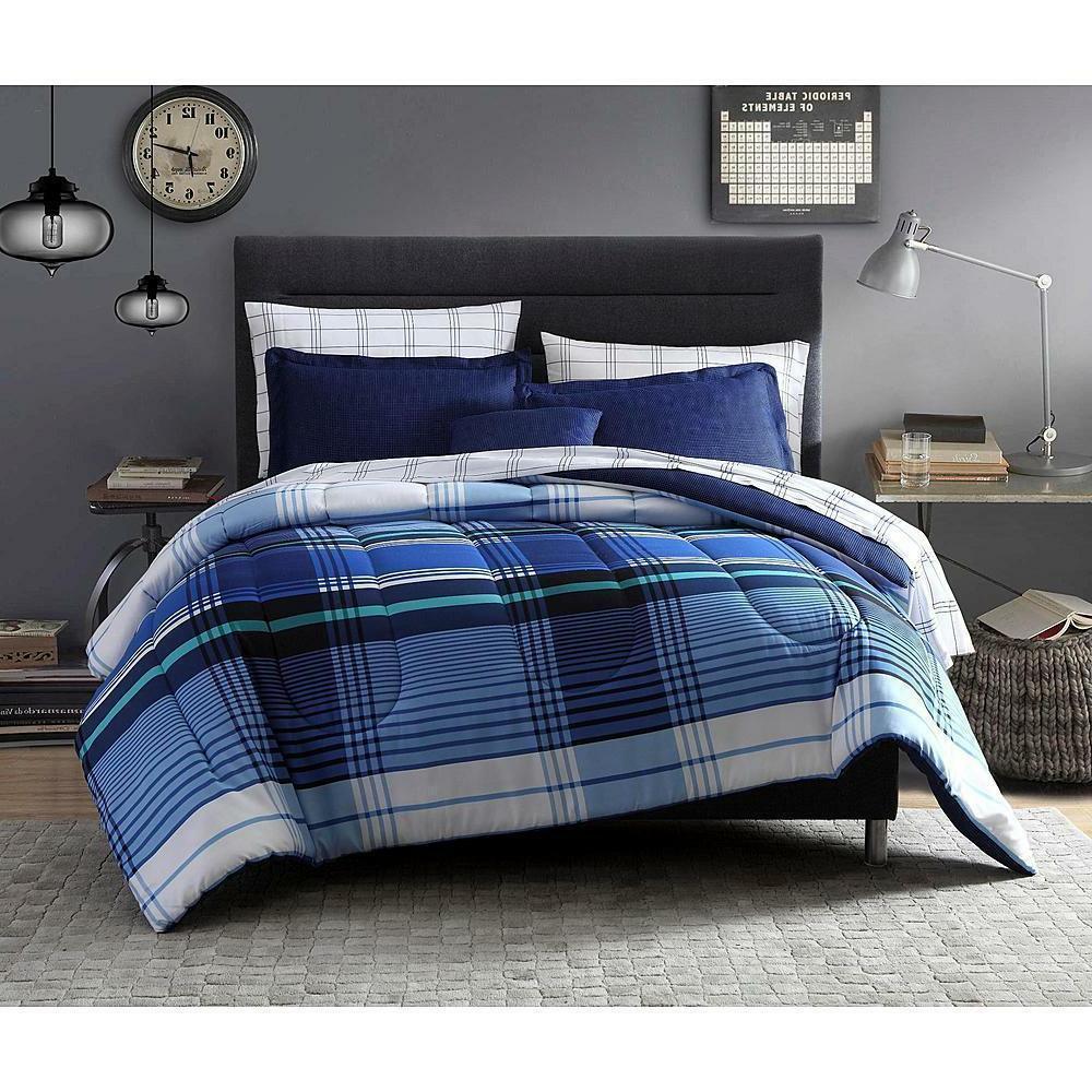 Blue Plaid Comforter Set 6-8 PC Complete Bedding Set Sham Sh