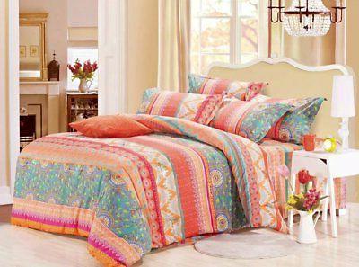 Wake In Cloud - Bohemian Comforter Set Queen, 3-Piece Orange