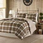 OSD 2pc Cabin Blue Brown Plaid Comforter Twin Set, Polyester
