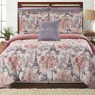 Chic Paris in Love Comforter Set BLUSH PINK GRAY Floral Towe