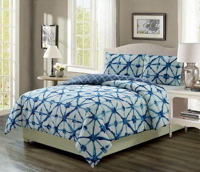 clermont navy white reversible comforter set