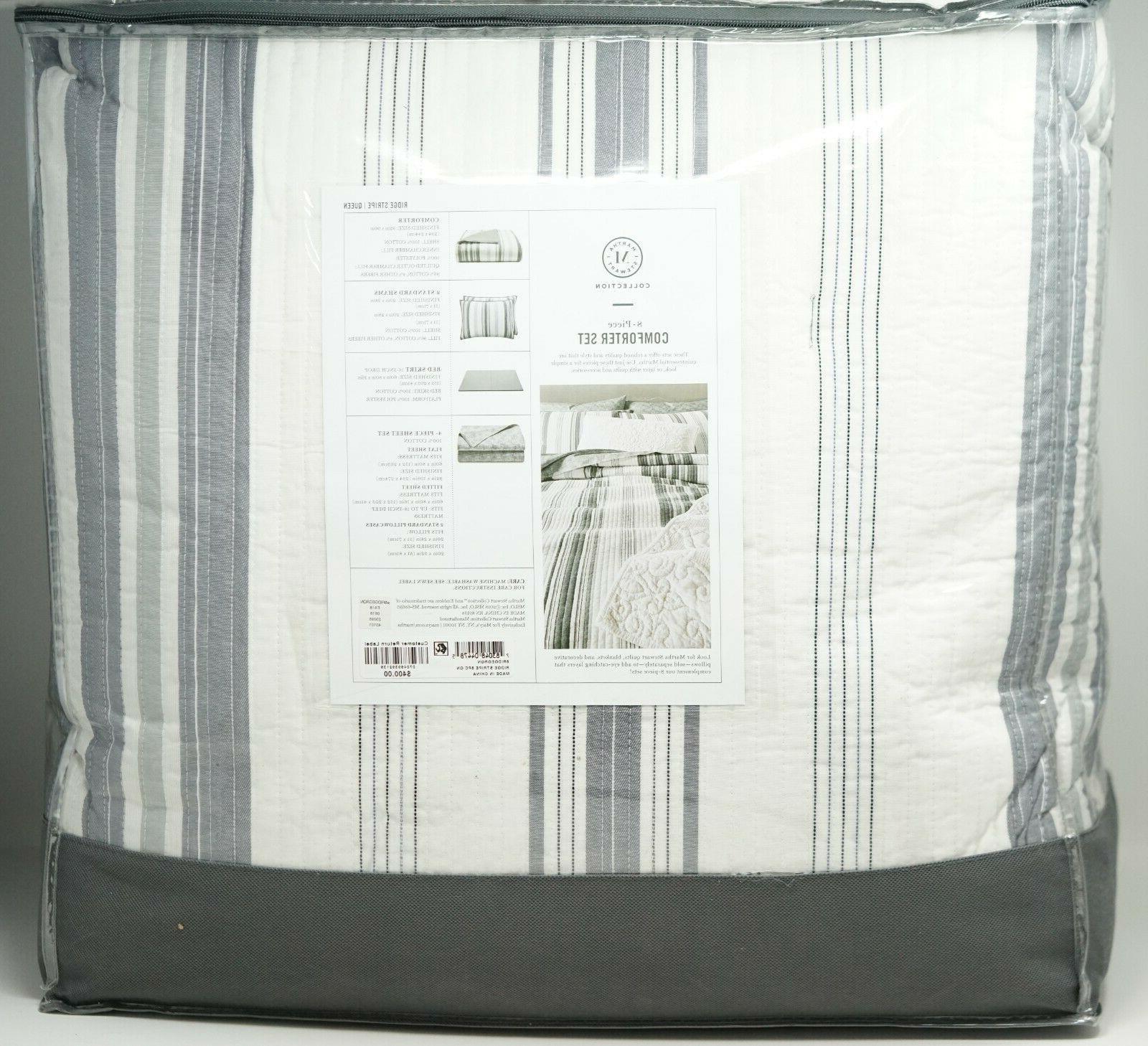 Martha Stripe Cotton Set Gray