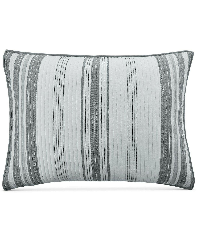 Martha Collection Stripe Cotton Comforter Set - QUEEN Gray