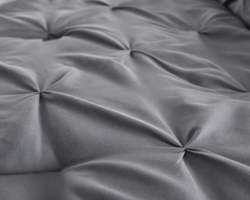 Chezmoi Com 7-Piece Pintuck Comforter Set Gray