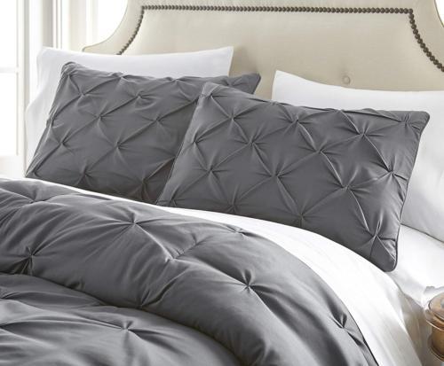 Chezmoi Collection Com 7-Piece Pintuck Bedding Comforter Set King,